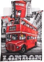 Londen dubbeldekker bus en telefooncel - dekbedovertrek London - eenpersoons met 1 kussensloop