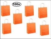 100x Papieren koordtas oranje 18x8x22cm