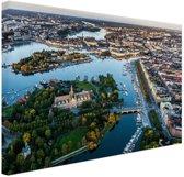 Luchtfoto van Stockholm Canvas 180x120 cm - Foto print op Canvas schilderij (Wanddecoratie woonkamer / slaapkamer) XXL / Groot formaat!
