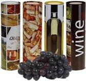 Vaderdag aanrader: set 4 wijn geschenkblikken, wijnkoker