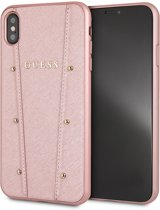 Guess Backcover hoesje Roze - Gouden studs - Leer - iPhone Xs Max  - Siliconen rand