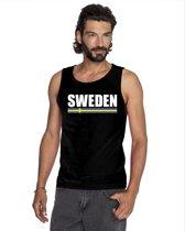 Zwart Sweden supporter mouwloos shirt heren - Zweden singlet shirt/ tanktop L