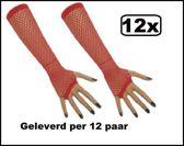 12x Paar Nethandschoenen lang vingerloos rood