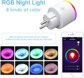Smart Plug Wifi16A EU RGB met Power Monitor Draadloze timing Smart Switch Afstandsbediende stopcontacten Compatibel met Amazon Alexa, Echo en Echo Dot voor IOS en Android met spraakbediening