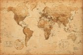 Poster-Wereldkaart-Antiek-Vintage stijl (61x91.5cm)