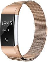 Milanees bandje geschikt voor Fitbit Charge 2 - Met magneetsluiting - Gemaakt van RVS - KELERINO. - Rose Gold - Small