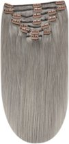 Remy Human Hair extensions Double Weft straight 18 - Silver Grey#