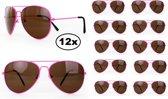 12x Zonnebril/ Pilotenbril fluo Pink