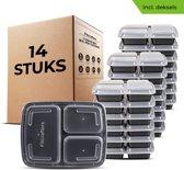 Meal Prep Bakjes 14 stuks - 3 Compartimenten - BPA vrij - Mealprep Container - Box – Fitcrafters