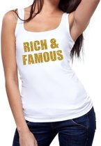 Rich and Famous glitter tekst tanktop / mouwloos shirt wit dames - dames singlet Rich & Famous S