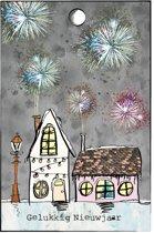cadeaukaartje kersthuisjes met vuurwerk - cadeau - kerst - kerstcadeau - set van 15 minikaartjeskaartje