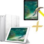 Apple iPad 9.7 (2017 / 2018) Hoes Marmer Wit Tri-Fold Book Case Cover Leer + Screenprotector Tempered Gehard Glas - Hoesje van iCall