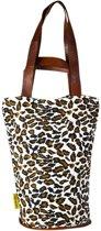 Mycha Ibiza – leopard tas - tas met rits - naturel beige - Ibiza – 100% katoen