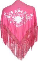 Spaanse manton - omslagdoek - voor kinderen - roze wit - bij flamenco prinsessen jurk