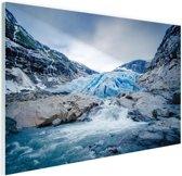 Briksdal gletsjer Glas 180x120 cm - Foto print op Glas (Plexiglas wanddecoratie) XXL / Groot formaat!