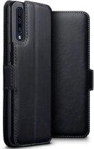 Hoesje voor Samsung Galaxy A50, echt leren 3-in-1 bookcase, zwart