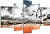 Glasschilderij Modern | Rood, Grijs, Zwart | 170x100cm 5Luik | Foto print op Glas |  F004410