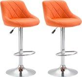 Clp Lazio Set van 2 barkrukken - Kunstleer - Oranje