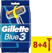 Gillette Blue3  - 8 + 4 Stuks - Wegwerpscheermesjes