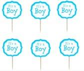 ProductGoods - It's a boy cocktailprikkers - cupcake toppers - jongen babyshower - cocktail prikkers - 24 STUKS