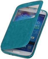 Polar View Map Case Turquoise Samsung Galaxy S5 TPU Bookcover Hoesje