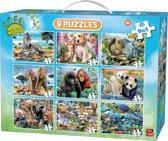 King 9 in 1 Dieren Puzzel - Koffer met 9 Verschillende Animal Puzzels - Met Handvat