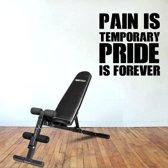 Muursticker Pain Is Temporary Pride Is Forever -  Donkerblauw -  120 x 120 cm  - Muursticker4Sale