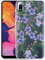 Galaxy A10 Hoesje Purple Flowers