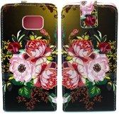 Hoesje geschikt voor Samsung Galaxy S6 Edge Plus, flipcase, bloemen