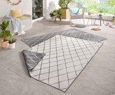 Binnen & buiten vloerkleed ruiten Malaga - grijs/crème 120x170 cm