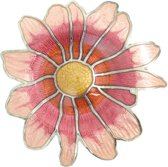 Behave® Broche bloem roze rood emaille 4,5 cm