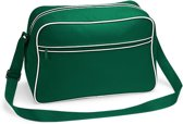 Bagbase Retro Schoudertas - Bottle Green/White