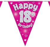 Vlaggenlijn holograpic Happy 18th Birthday Pink