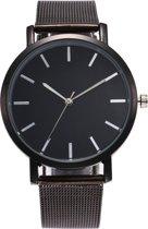 Vintage Mesh Horloge - Staal - Zwart