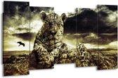 Canvas schilderij Natuur   Geel, Groen, Zwart   150x80cm 5Luik