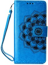 Shop4 - Samsung Galaxy A7 (2018) Hoesje - Wallet Case Vintage Mandala Blauw