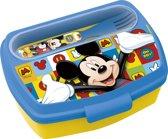 Stor Broodtrommel Met Bestek Mickey Mouse Geel/blauw 800 Ml