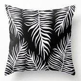 Kussenhoes Palmbladeren Zwart Wit| Sierkussen Vierkant met Rits