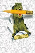 Notebook: T-Rex trendy write and draw dinosaur notebook for boys or girls back to school or homeschool student.