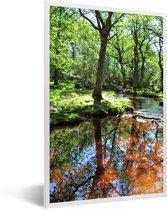 Foto in lijst - Reflectie in een beekje in het Nationaal park New Forest in Engeland fotolijst wit 40x60 cm - Poster in lijst (Wanddecoratie woonkamer / slaapkamer)