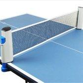 Uitschuifbaar Tafeltennis Net - Draagbaar Pingpong Net - Tafeltennisnet - Oprolbaar - Pingpong Netje - Reis Net - 190CM - Grijs/ Blauw