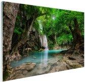 Erawan Waterval in jungle Thailand foto Glas 120x80 cm - Foto print op Glas (Plexiglas wanddecoratie)