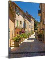 Gezellig straatje in het Franse Saint-Tropez Aluminium 80x120 cm - Foto print op Aluminium (metaal wanddecoratie)