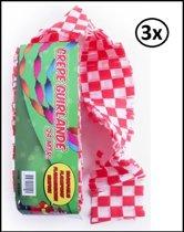 3x Crepe guirlande brandveilig rood/wit geblokt 24m