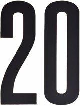 Cijfer sticker 20 zwart 10 cm