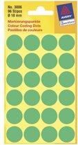 Avery Zweckform 3006 etiket Groen Rond Permanent 96 stuk(s)