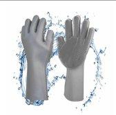 Magic Cleaning Gloves Siliconen Schoonmaak Handschoenen met Ingebouwde Borstels voor afwas, afstoffen, badkamer, auto en keuken, multi-functionele huishoudhandschoen  - Poetshandschoenen - Huishoudaccessoires schoonmaakhandschoenen met spons  Grijs