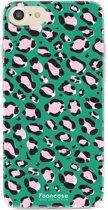 Iphone 8 - TPU Soft Case - Back Cover telefoonhoesje - Leopard / Groen