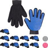 relaxdays 10 paar vachtverzorgingshandschoen hond kat - borstel handschoen honden - blauw
