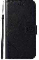 Shop4 - Samsung Galaxy A50 Hoesje - Wallet Case Vlinder Patroon Zwart